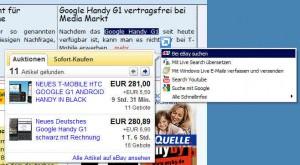 IE8 Schnellansicht - eBay-Suche