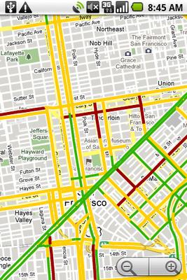 Google Maps mit Staumeldungen (Quelle: The Official Google Blog)