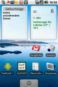 HTC Magic - Startbildschirm mit Widgets und Statusleiste