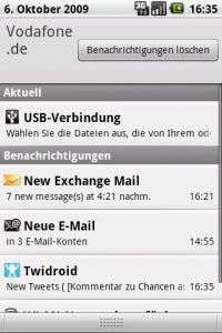 HTC Magic - Statusinfos aufgeblendet