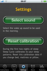iPhone App Sleep Cycle - Einstellungen