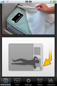 iPhone App Sleep Cycle - Anleitung zur Positionierung des Handys