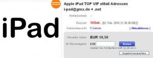 ebay-Verkauf einer iPad-Mailadresse