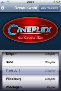 Cineplex App - Ortsauswahö