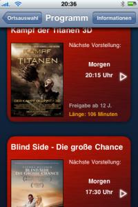 Cineplex App - Filmübersicht