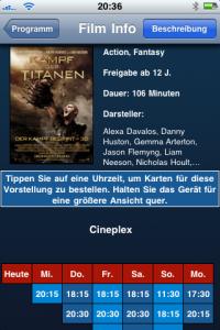 Cineplex App - Vorstellungszeiten