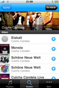 Simfy - iPhone App Suchergebnis
