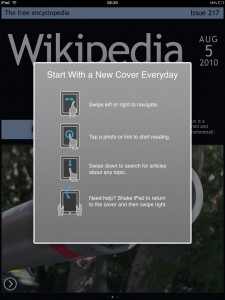 Cooliris Discover - Wikipedia als Magazin Layout