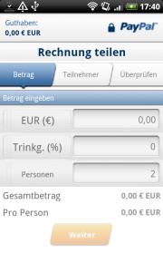 PayPal Android App - Rechnung aufteilen