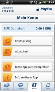 PayPal Android App - Kontofunktionen