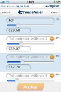 PayPal iPhone App - Rechnung aufteilen