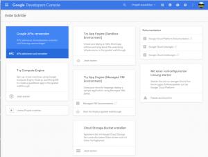 Startseite Google Developer Console