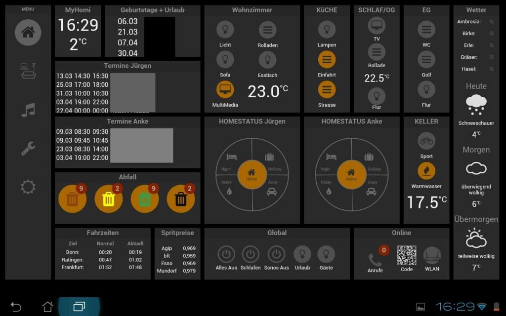Aktuelles Dashboard mit der Tablet UI Oberfläche