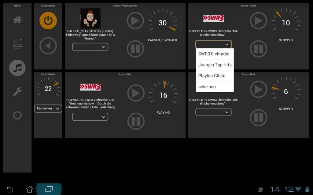 Sonos Player in der FHEM TabletUI Oberfläche