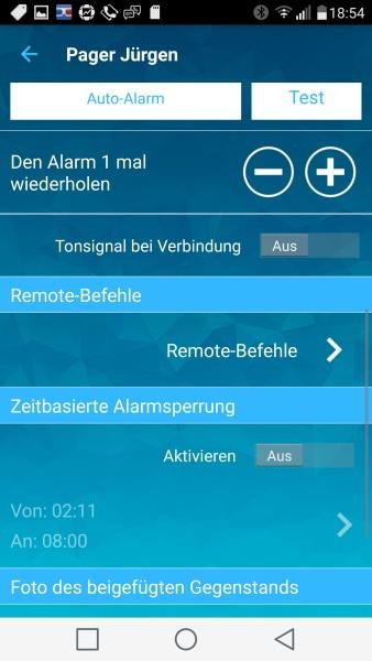 PagerTag App - Einstellungen (Ausschnitt)