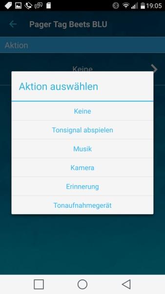 PagerTag App - Remote Funktionen auswählen
