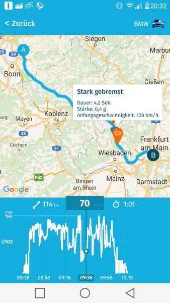 Darstellung einer Autofahrt in der TankTaler App