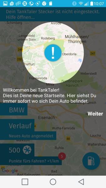 Startbildschirm der TankTaler App