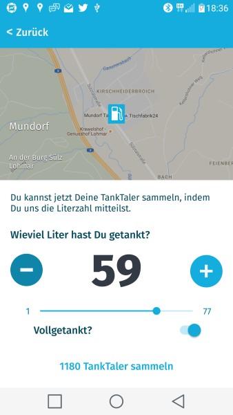 Eingabe der Tankmenge in der TankTaler App