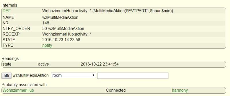 FHEM Notify für Harmony Hub - Auf Aktionen wird in einer Funktion reagiert