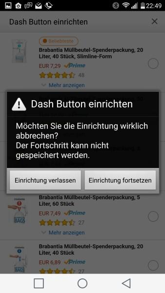 Einrichtung des Dash Button vor der Produktzuordnung abbrechen